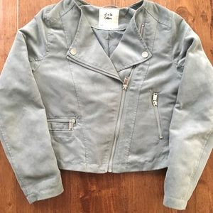Girls size 10-11 faux-suede green cropped jacket